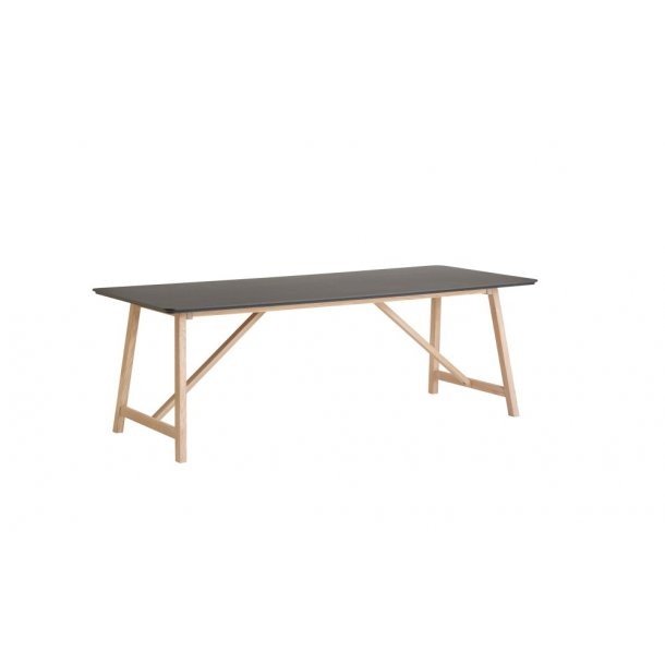 Hyggelig CASØ 502 spisebord, sort linoleum - eg hvidolieret XR-71