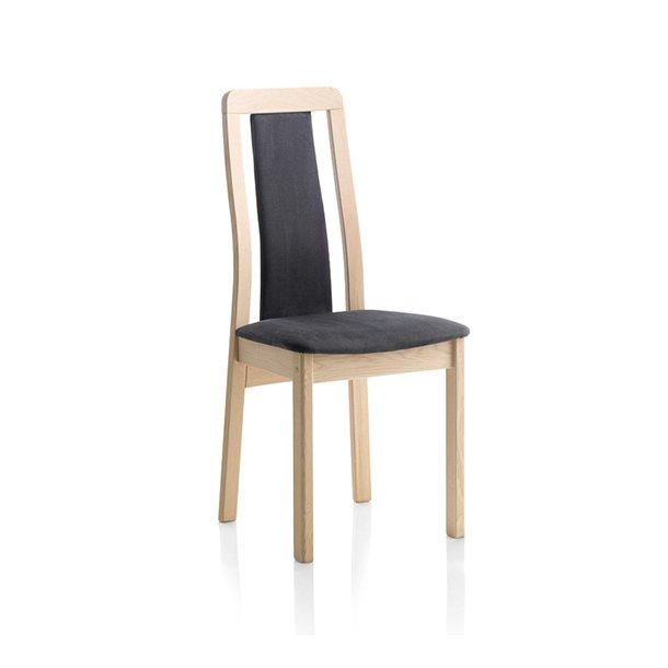 Findahls Line stol med sort læder på sæde, ryg og stel i eg sæbe