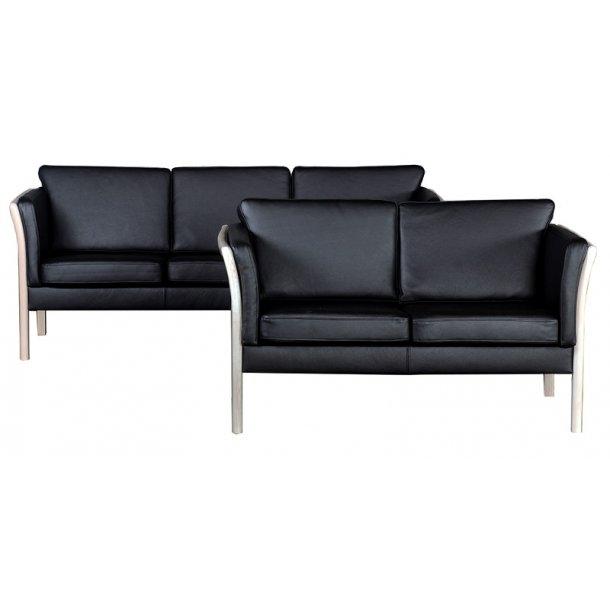 Rosenholm 3+2 pers sofa i sort okselæder dessin Toledo