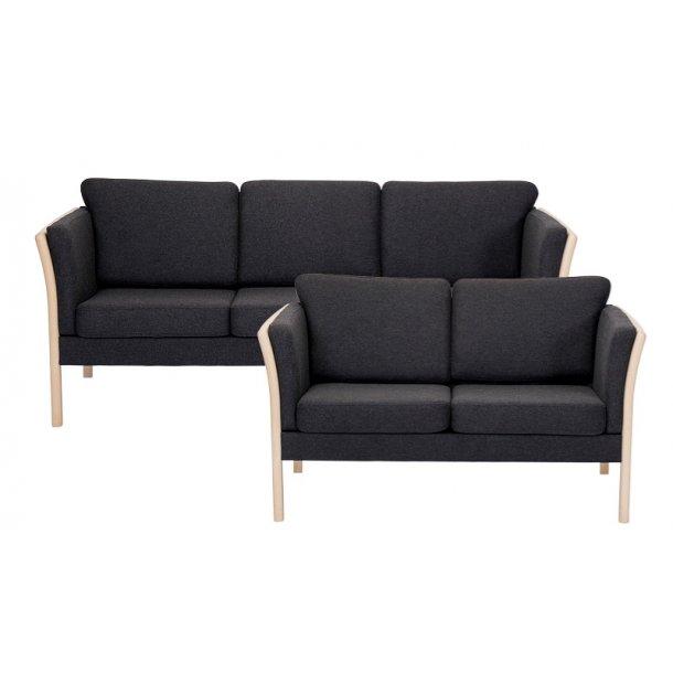 Rosenholm 3 og 2 pers sofa i antracitefarvet uldfilt