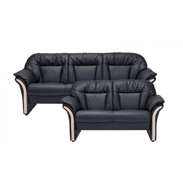 Chicago 3+2 pers sofa eg og sort læder