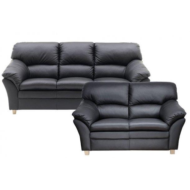 Wien 3+2 pers sofa i sort læder